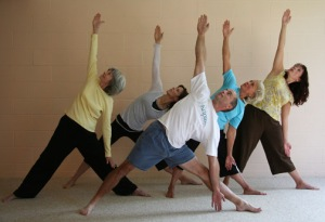 yoga triangle pose community