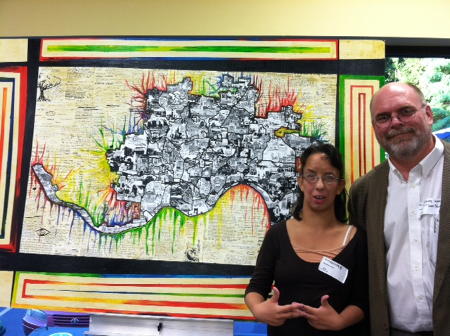 Krista and Committee Member Randy with one of the completed murals