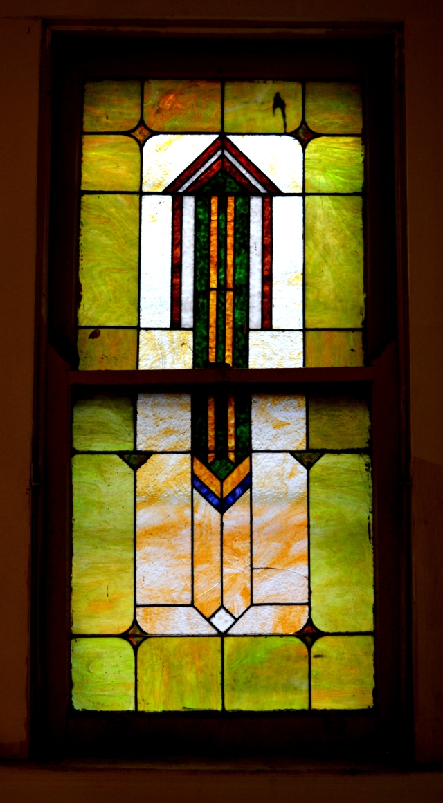 Stained glass window going upstairs