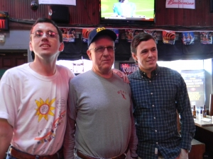 Joe, Peter, and  Brumm at Happy Hour for Joe's Kilgour Alumni group