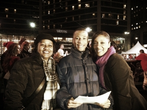Arlene (mom), Jordan, and Brandy (sister) at Sing! Cincinnati night